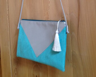 Silver and turquoise geometric clutch bag