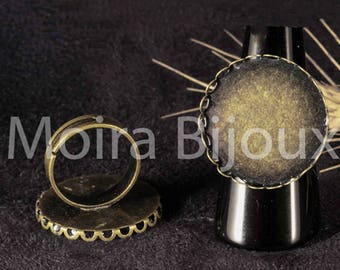 1 blank ring cabochon lace brass 25mm