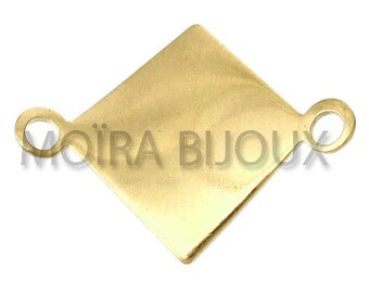 10 diamond connectors 18mm curved light smooth gold