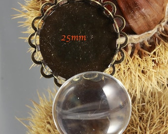 10 PIECES: 5 supports bronze cabochon double lace 5cabochons glass + 25mm