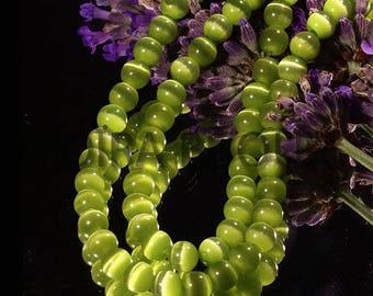 20 Apple green cat eye beads 5mm round