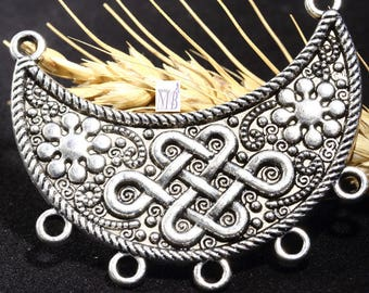 1 connector Chinese knot pendant silver color metal 40x47mm