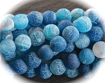x 8 lagoon blue cracked agate 8mm beads