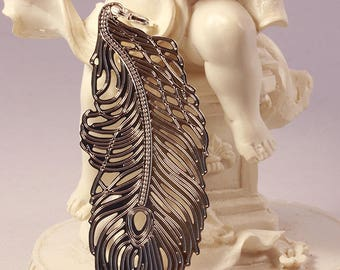 silver plated 1estampe feather or leaf large model 60x27mm