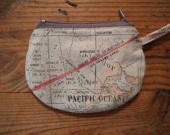 """Map of the world"" wallet made of cotton, zipper"