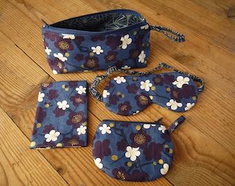 travel kit, night mask, passport cover, wallet, wallet, kit, indigo, Asian pattern, purple blue, travel gift, travel set