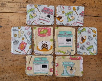 cottons to remove make-up, vintage kitchen, fifties, face disc, pink, blue, yellow, zero waste, ecology, economy, washable, reusable,