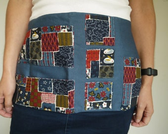 master apron, short apron, multi pockets, Asian patterns, blue and red, end-of-school gift, ATSEM apron, washable machine