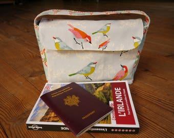 """Pochette de Voyage multi compartiments """"Oiseaux"""" en toile de coton"""