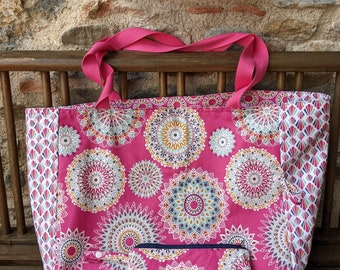 Large reversible beach bag, coated cotton, plasticized, removable zipped kit, pink, mandalas, rosettes, woman's gift, holiday