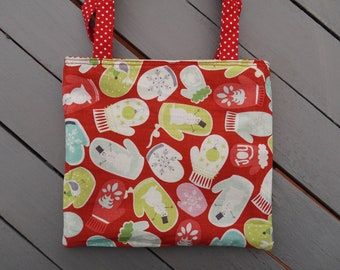 bag girl gloves, Christmas, stars, snowflakes, snowman snow, red and white, cotton, machine washable,