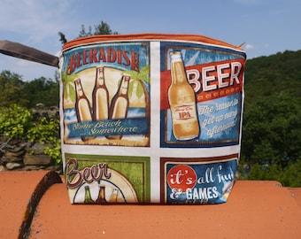 Trousse de Toilette, motifs bière, trousse pour homme, en coton, bouteilles de bières, cadeau fête des pères