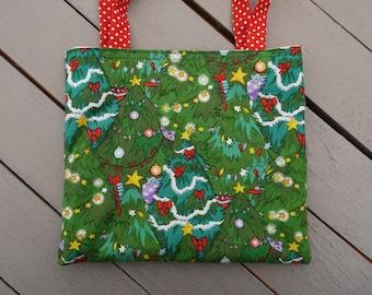 Little girl bag, Christmas tree, wreaths, stars, gift bag, mini tote bag, Christmas, cotton, washable machine