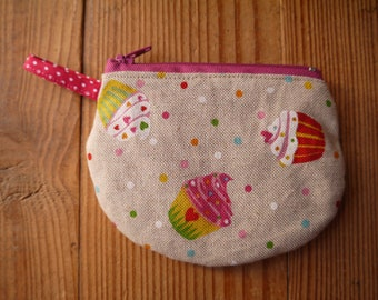 wallet, cup cakes, peas, pink, gift girl, gift cook, gourmet, cotton, machine washable