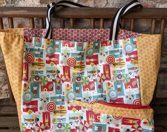 Large reversible beach bag in plasticized cotton, style 50 fifties, removable kit, yellow and red, coated cotton, women's gift
