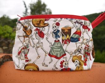 Trousse en coton, Motif squelettes mexicains, fête des morts mexique, pochette pour sac à main,  fermeture éclair, doublée, multicolore