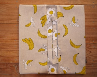 egg pie bag with bananas, cotton and linen, machine washable, reversible, two in one, kitchen gift,