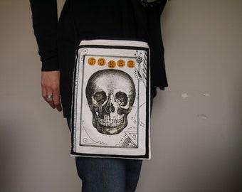 Sac Besace, Motif Crâne et Corbeau, style gothique, sac noir blanc et orange, petit sac bandoulière, motif halloween, fermeture éclair
