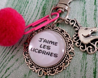 Porte clé personnalisé cabochon 2cm J aime les Licornes ! c19682dbbad