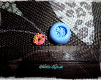 Mini mold for polymer clay mini donuts 8mm