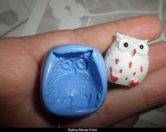 Mold for polymer clay large owls soft 23x21mm