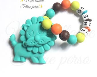 "Custom silicone teething rattle ~ model jungle King ""Théo"""
