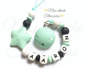 """Silicone pacifier ~ Mint Green Star """"Aaron"""""""
