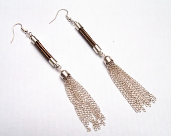 Long earrings leather and silver