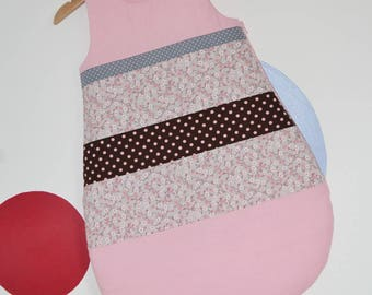 Sleeping bag 0-6 months light pink, chocolate and grey cotton