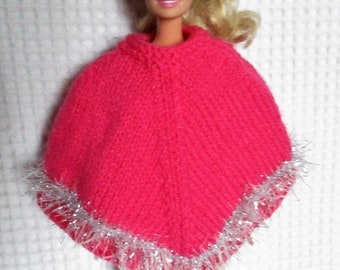 Clothing, poncho for Barbie doll, pink and gray