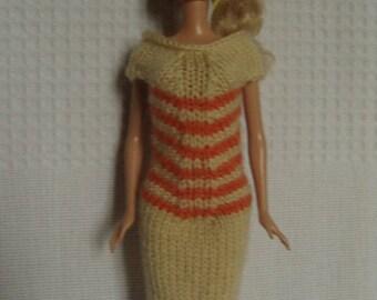 Garment dress for Barbie doll knitting pattern