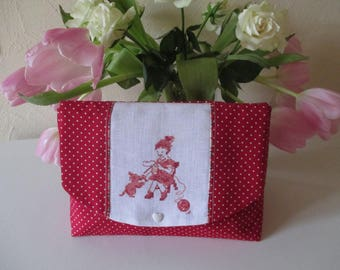 Large pouch * I knit * embroidery / / cross stitch / / handmade / / France