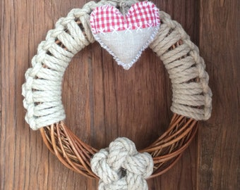 Advent wreath, Christmas wreath, rope Christmas decoration, holiday gift, braided wicker and hemp, festive wall decoration