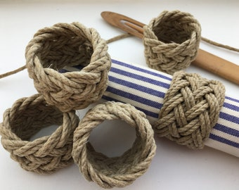 Set of 4 - Napkin rounds - tables - marine decoration - parties - rope - table decoration