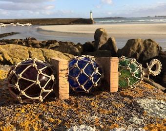 Marine Decoration - Mural Decoration - Fishing Floats - Blown Glass Ball - Sea Knots - Hemp - Cork -