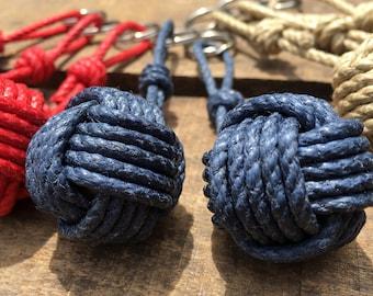 Keychain - Natural hemp - Toulin apple - Marine knots - Monkey's fist knot