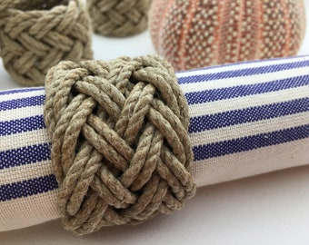 Set of 6 - Napkin rounds - tables - marine decoration - parties - rope - table decoration