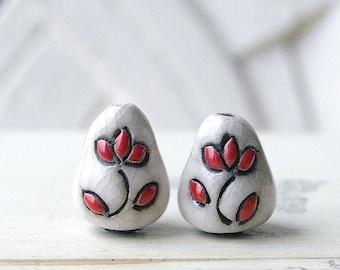 Handmade Ceramic Raku Bead, White Pearl, Ethnic Style, X2