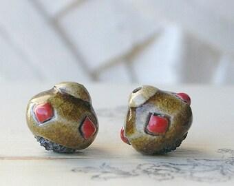 Handmade Ceramic Raku Bead, Khaki and Red Pearl, Ethnic Style, X2