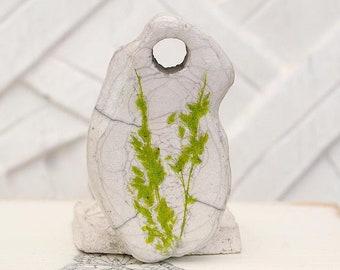 Herbaceous, Raku ceramic pendant, white, green moss, 1 X