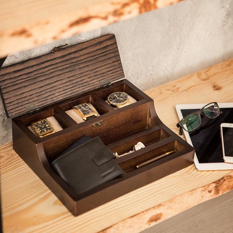 555a1851c2 Personalized wood valet box Hetch Walnut Custom Watch Box