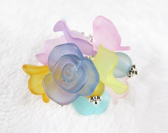 Ring multi frosted charms - multi color - B6A001
