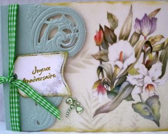 soft green floral birthday card