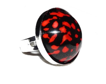 Flame red and black modern fashion ring jewelry resin for girls or women
