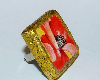 Ceramic poppy ring large square red and gold ladies ring