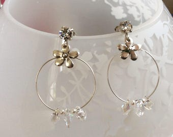 Hoop earrings with crystal element, metal and Crystal European swatrovski