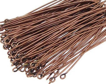 Set of 200 stems to 30mm eye copper for the creation of jewelry and accessories