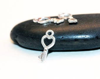 Set of 20 pendants 18x8mm - shaped mini silver key