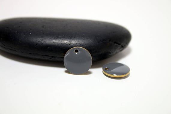 12mm - 5 pendentifs emaillés Rond GRIS