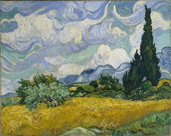 Adults Paint by Numbers Kit - Framed Canvas - 40x50cm -  Wheat Field with Cypresses by Van Gogh